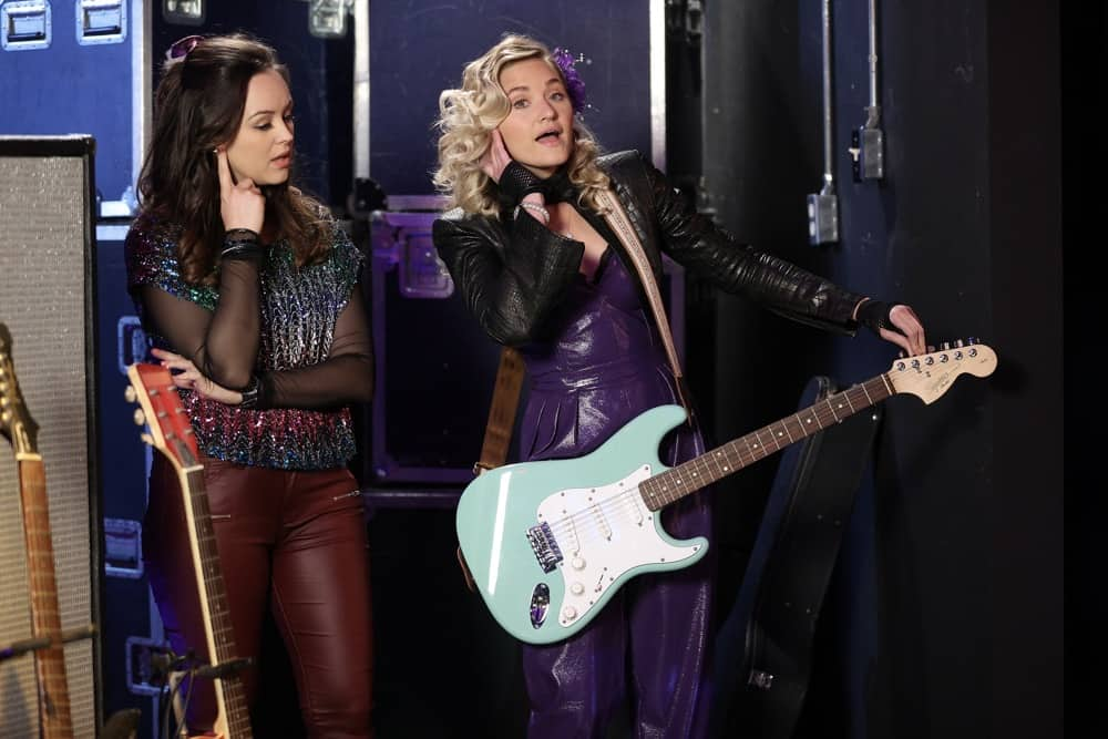 """THE GOLDBERGS Season 8 Episode 20 - """"Poker Night"""" – In order to take her mind off of her heartbreak, Erica takes a trip to Los Angeles to see her best friend, Lainey Lewis (played by AJ Michalka), and they end up getting the band back together for a gig. Meanwhile, after getting caught taking part in an underground poker game, Adam gets sentenced to Pop-Pop (played by Judd Hirsch) duty, which turns out better than expected, on a new episode of """"The Goldbergs,"""" WEDNESDAY, MAY 5 (9:30-10:00 p.m. EDT), on ABC. (ABC/Raymond Liu) HAYLEY ORRANTIA, AJ MICHALKA"""