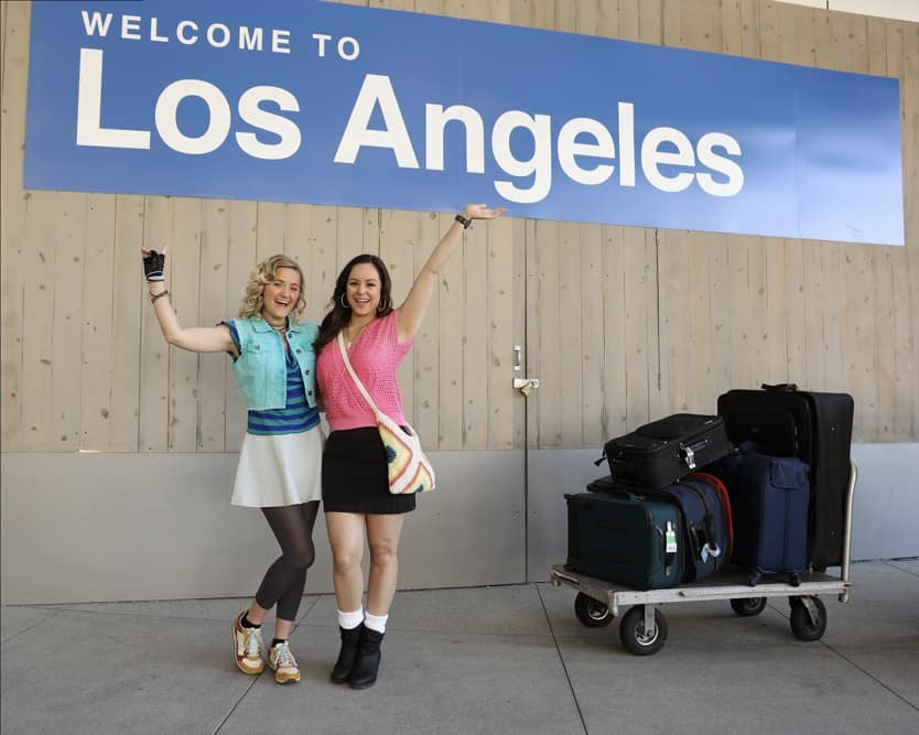 """THE GOLDBERGS Season 8 Episode 20 - """"Poker Night"""" – In order to take her mind off of her heartbreak, Erica takes a trip to Los Angeles to see her best friend, Lainey Lewis (played by AJ Michalka), and they end up getting the band back together for a gig. Meanwhile, after getting caught taking part in an underground poker game, Adam gets sentenced to Pop-Pop (played by Judd Hirsch) duty, which turns out better than expected, on a new episode of """"The Goldbergs,"""" WEDNESDAY, MAY 5 (9:30-10:00 p.m. EDT), on ABC. (ABC/Raymond Liu) AJ MICHALKA, HAYLEY ORRANTIA"""