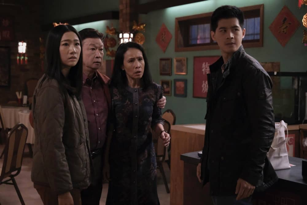 """KUNG FU Season 1 Episode 5 -- """"Sanctuary"""" -- Image Number: KF105a_0028r.jpg -- Pictured (L-R): Olivia Liang as Nicky, Tzi Ma as Jin, Kheng Hua Tan as Mei-Li and Eddie Liu as Henry -- Photo: Bettina Strauss/The CW -- © 2021 The CW Network, LLC. All Rights Reserved"""