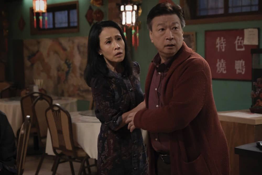 """KUNG FU Season 1 Episode 5 -- """"Sanctuary"""" -- Image Number: KF105a_0014r.jpg -- Pictured (L-R): Kheng Hua Tan as Mei-Li and Tzi Ma as Jin -- Photo: Bettina Strauss/The CW -- © 2021 The CW Network, LLC. All Rights Reserved"""