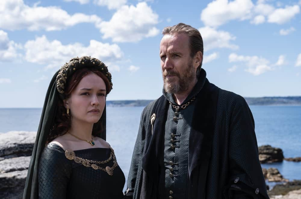 """Olivia Cooke as """"Alicent Hightower"""" and Rhys Ifans as """"Otto Hightower""""Photograph by Ollie Upton/HBO House Of The Dragon"""