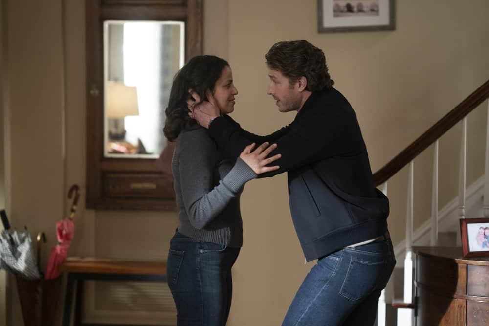 "MANIFEST Season 3 Episode 8 -- ""Destination Unknown"" Episode 308 -- Pictured: (l-r) Athena Karkanis as Grace Stone, Josh Dallas as Ben Stone -- (Photo by: Peter Kramer/Warner Brothers/NBC)"