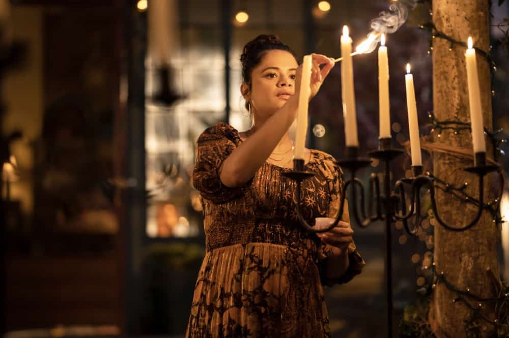 """CHARMED Season 3 Episode 11 -- """"Witchful Thinking"""" -- Image Number: CMD311a_0100r -- Pictured: Melonie Diaz as Mel Vera -- Photo: Kailey Schwerman/The CW -- © 2021 The CW Network, LLC. All Rights Reserved."""