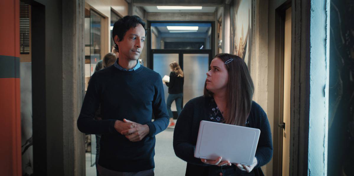 """MYTHIC QUEST Season 2 Episode 1 Danny Pudi and Jessie Ennis in """"Mythic Quest"""" now streaming on Apple TV+."""