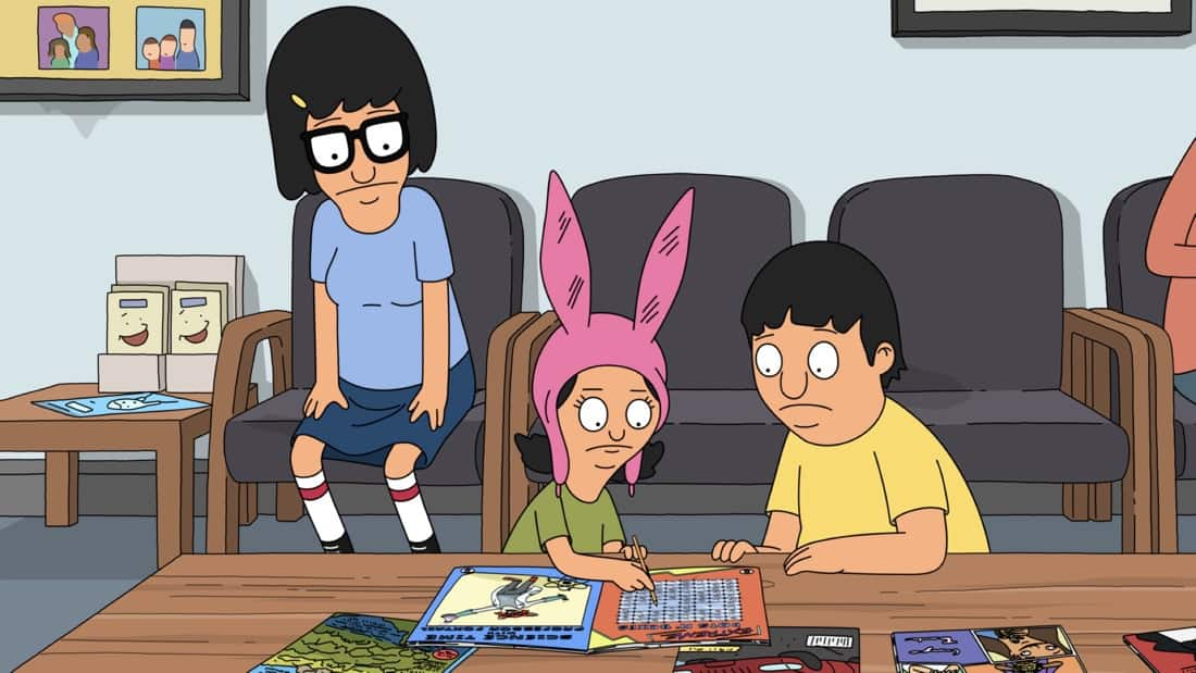 """BOB'S BURGERS Season 11 Episode 20 : The Belcher kids get caught up in a game of cat-and-mouse when Dr. Yap comes to the restaurant in search of something that was taken from the waiting room of his dentistry office. Meanwhile, Bob, Linda and Teddy try to clean a huge bird poop off the restaurant's window in the """"Steal Magazine-olias"""" episode of BOB'S BURGERS airing Sunday, May 9 (9:00-9:30 PM ET/PT) on FOX. BOB'S BURGERS © 2021 by 20th Television."""