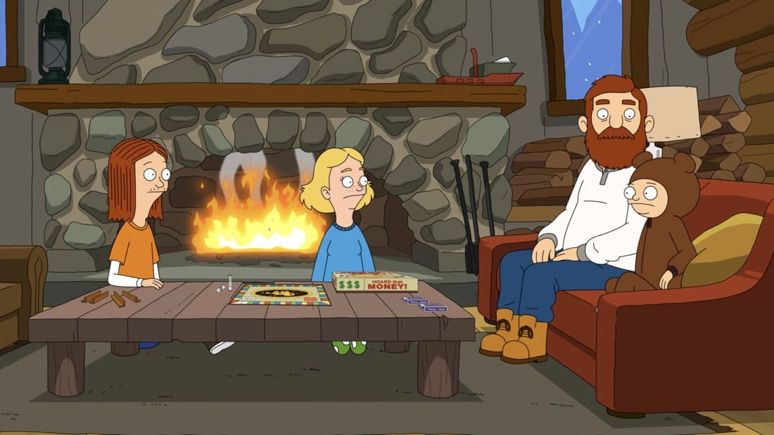 """THE GREAT NORTH Season 1 Episode 10 : A blizzard threatens the Tobin family game night. Meanwhile, Beef makes a new friend in the woods in the """"Game of Snownes Adventure"""" episode of THE GREAT NORTH airing Sunday, May 9 (8:30-9:00 PM ET/PT) on FOX. THE GREAT NORTH © 2021 by 20th Television and Fox Media LLC."""