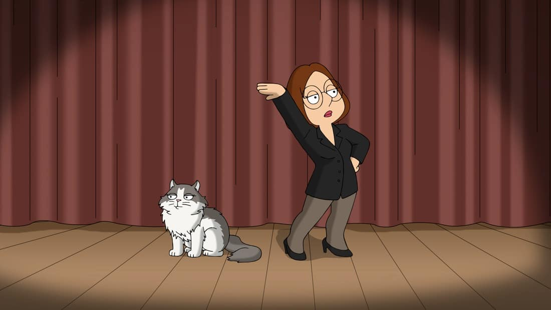 """FAMILY GUY Season 19 Episode 19 Brian tries to convince The Griffins that their new adopted cat, Pouncy, is evil in the """"Family Cat"""" episode of FAMILY GUY airing Sunday, May 9 (9:30-10:00 PM ET/PT) on FOX. Guest voice Tracie Thoms. FAMILY GUY © 2021 by 20th Television"""