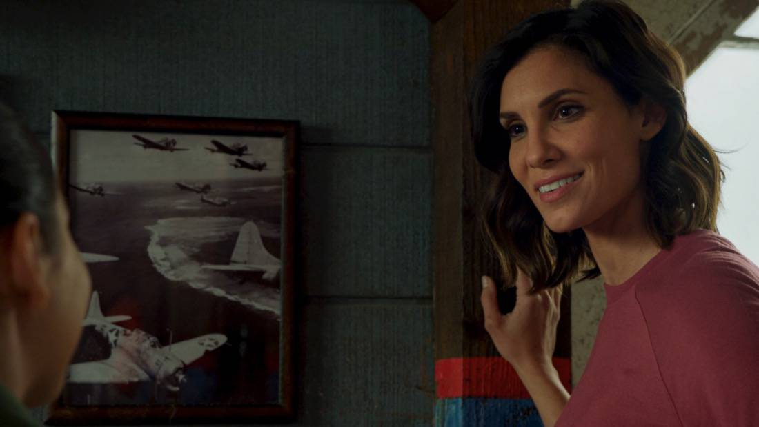 """NCIS LOS ANGELES Season 12 Episode 16 """"Signs of Change"""" - Pictured: Daniela Ruah (Special Agent Kensi Blye). When military grade technology is stolen, a deaf engineer, Sienna Marchione (Raquel McPeek Rodriguez), who always wanted to serve her country, and the only member of her team to survive the theft, helps Kensi and NCIS track down the tech before it's taken out of the country, on NCIS: LOS ANGELES, Sunday, May 9 (9:00-10:00 PM, ET/PT) on the CBS Television Network.  Photo: Screen Grab/CBS ©2021 CBS Broadcasting, Inc. All Rights Reserved."""