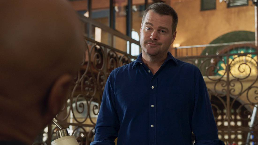 """NCIS LOS ANGELES Season 12 Episode 16 """"Signs of Change"""" - Pictured: Chris O'Donnell (Special Agent G. Callen). When military grade technology is stolen, a deaf engineer, Sienna Marchione (Raquel McPeek Rodriguez), who always wanted to serve her country, and the only member of her team to survive the theft, helps Kensi and NCIS track down the tech before it's taken out of the country, on NCIS: LOS ANGELES, Sunday, May 9 (9:00-10:00 PM, ET/PT) on the CBS Television Network.  Photo: Screen Grab/CBS ©2021 CBS Broadcasting, Inc. All Rights Reserved."""