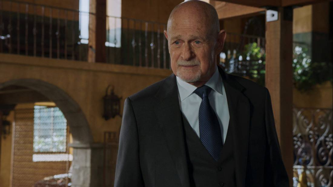 """NCIS LOS ANGELES Season 12 Episode 16 """"Signs of Change"""" - Pictured: Gerald McRaney (Retired Navy Admiral Hollace Kilbride). When military grade technology is stolen, a deaf engineer, Sienna Marchione (Raquel McPeek Rodriguez), who always wanted to serve her country, and the only member of her team to survive the theft, helps Kensi and NCIS track down the tech before it's taken out of the country, on NCIS: LOS ANGELES, Sunday, May 9 (9:00-10:00 PM, ET/PT) on the CBS Television Network.  Photo: Screen Grab/CBS ©2021 CBS Broadcasting, Inc. All Rights Reserved."""