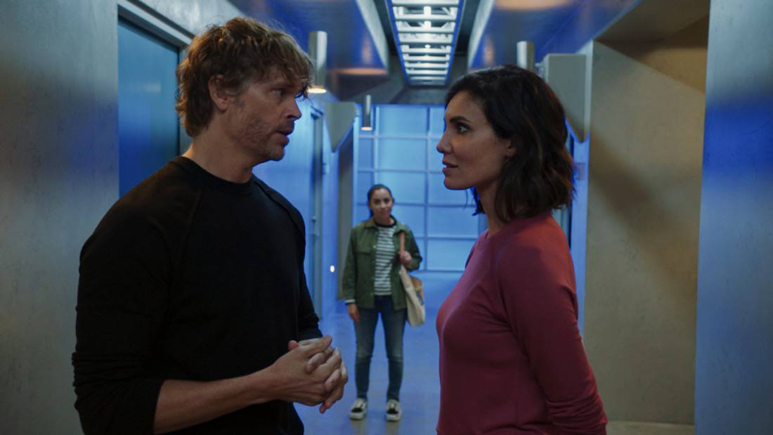 """NCIS LOS ANGELES Season 12 Episode 16 """"Signs of Change"""" - Pictured: Eric Christian Olsen (LAPD Liaison Marty Deeks), Sienna Marchione (Raquel McPeek Rodriguez) and Daniela Ruah (Special Agent Kensi Blye). When military grade technology is stolen, a deaf engineer, Sienna Marchione (Raquel McPeek Rodriguez), who always wanted to serve her country, and the only member of her team to survive the theft, helps Kensi and NCIS track down the tech before it's taken out of the country, on NCIS: LOS ANGELES, Sunday, May 9 (9:00-10:00 PM, ET/PT) on the CBS Television Network.  Photo: Screen Grab/CBS ©2021 CBS Broadcasting, Inc. All Rights Reserved."""