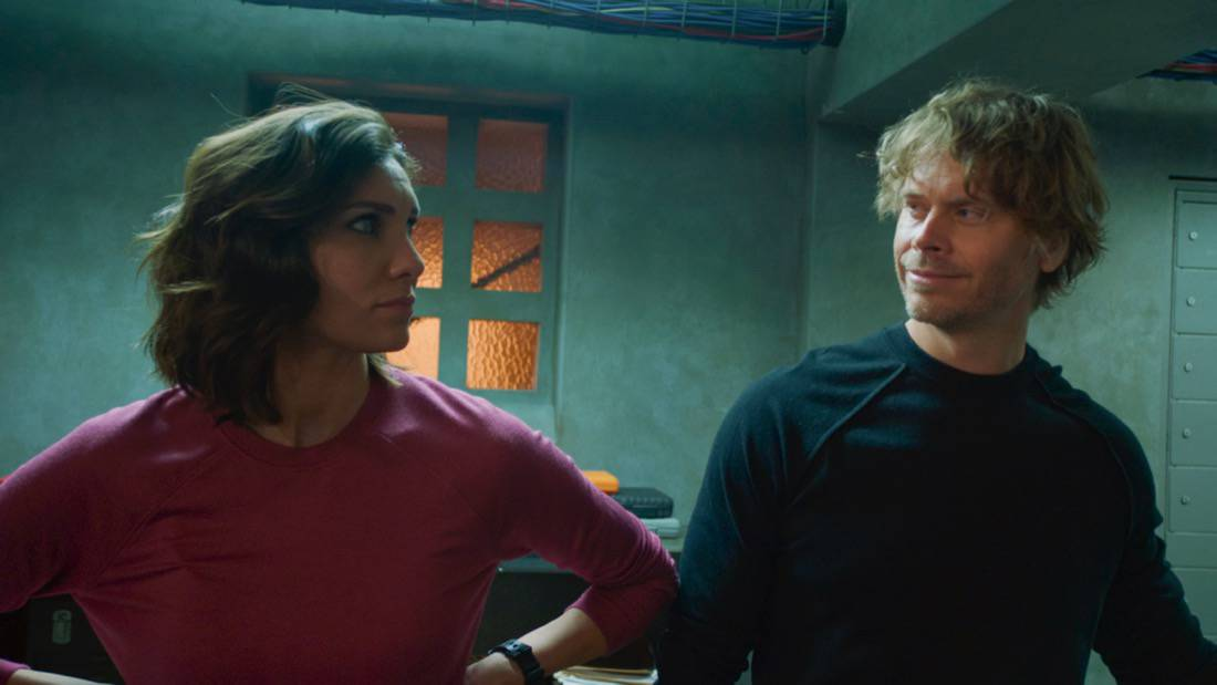 """NCIS LOS ANGELES Season 12 Episode 16 """"Signs of Change"""" - Pictured: Daniela Ruah (Special Agent Kensi Blye) and Eric Christian Olsen (LAPD Liaison Marty Deeks). When military grade technology is stolen, a deaf engineer, Sienna Marchione (Raquel McPeek Rodriguez), who always wanted to serve her country, and the only member of her team to survive the theft, helps Kensi and NCIS track down the tech before it's taken out of the country, on NCIS: LOS ANGELES, Sunday, May 9 (9:00-10:00 PM, ET/PT) on the CBS Television Network.  Photo: Screen Grab/CBS ©2021 CBS Broadcasting, Inc. All Rights Reserved."""