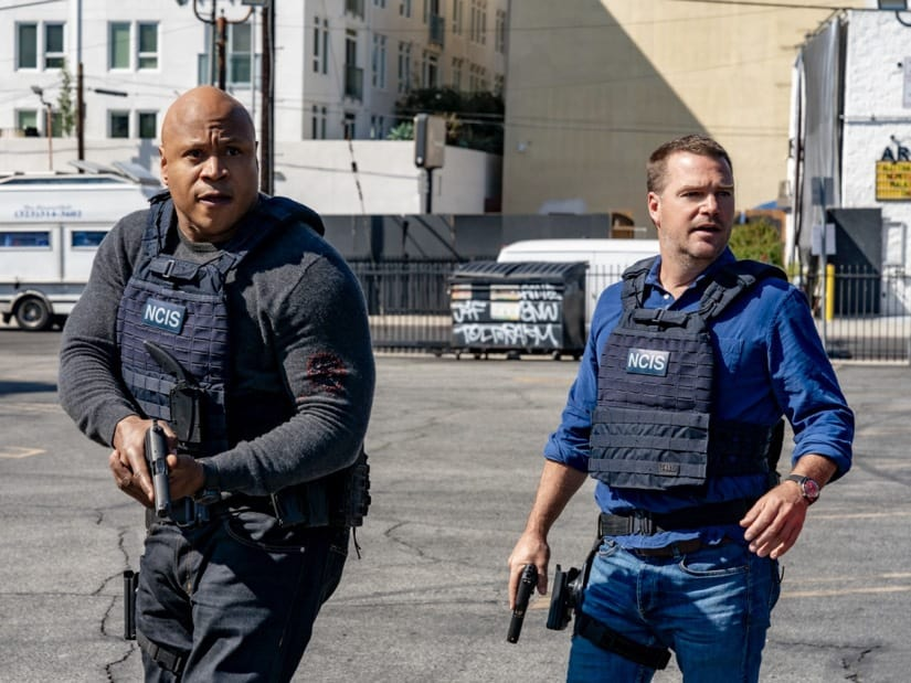 """NCIS LOS ANGELES Season 12 Episode 16 """"Signs of Change"""" - Pictured: LL COOL J (Special Agent Sam Hanna) and Chris O'Donnell (Special Agent G. Callen). When military grade technology is stolen, a deaf engineer, Sienna Marchione (Raquel McPeek Rodriguez), who always wanted to serve her country, and the only member of her team to survive the theft, helps Kensi and NCIS track down the tech before it's taken out of the country, on NCIS: LOS ANGELES, Sunday, May 9 (9:00-10:00 PM, ET/PT) on the CBS Television Network.  Photo: Ron P. Jaffe/CBS ©2021 CBS Broadcasting, Inc. All Rights Reserved."""