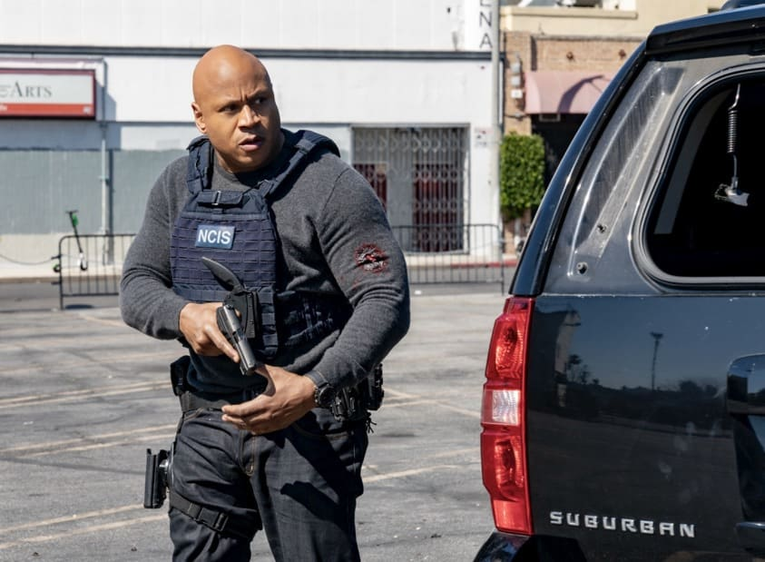 """NCIS LOS ANGELES Season 12 Episode 16 """"Signs of Change"""" - Pictured: LL COOL J (Special Agent Sam Hanna). When military grade technology is stolen, a deaf engineer, Sienna Marchione (Raquel McPeek Rodriguez), who always wanted to serve her country, and the only member of her team to survive the theft, helps Kensi and NCIS track down the tech before it's taken out of the country, on NCIS: LOS ANGELES, Sunday, May 9 (9:00-10:00 PM, ET/PT) on the CBS Television Network.  Photo: Ron P. Jaffe/CBS ©2021 CBS Broadcasting, Inc. All Rights Reserved."""