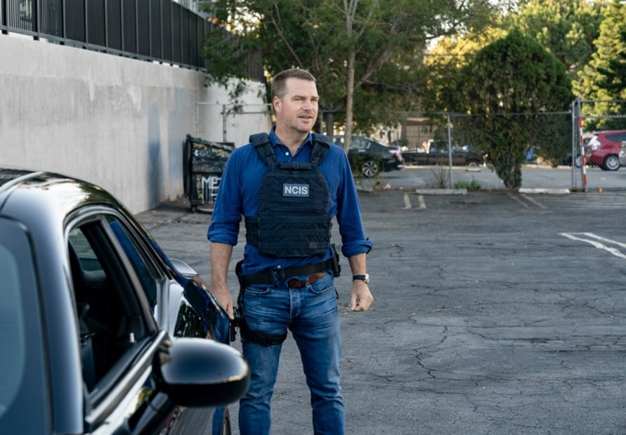"""NCIS LOS ANGELES Season 12 Episode 16 """"Signs of Change"""" - Pictured: Chris O'Donnell (Special Agent G. Callen). When military grade technology is stolen, a deaf engineer, Sienna Marchione (Raquel McPeek Rodriguez), who always wanted to serve her country, and the only member of her team to survive the theft, helps Kensi and NCIS track down the tech before it's taken out of the country, on NCIS: LOS ANGELES, Sunday, May 9 (9:00-10:00 PM, ET/PT) on the CBS Television Network.  Photo: Ron P. Jaffe/CBS ©2021 CBS Broadcasting, Inc. All Rights Reserved."""