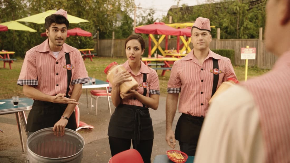 """LEGENDS OF TOMORROW Season 6 Episode 2 -- """"Meat: The Legends"""" -- Image Number: LGN602fg_0030r.jpg -- Pictured (L-R): Shayan Sobhian as Behrad, Tala Ashe as Zari and Nick Zano as Nate Haywood/Steel -- Photo: The CW -- © 2021 The CW Network, LLC. All Rights Reserved."""
