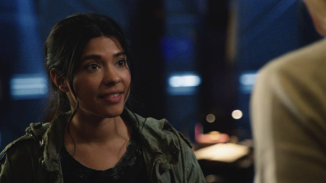 """LEGENDS OF TOMORROW Season 6 Episode 2 -- """"Meat: The Legends"""" -- Image Number: LGN602fg_0056r.jpg -- Pictured: Lisseth Chavez as Esperanza """"Spooner"""" Cruz -- Photo: The CW -- © 2021 The CW Network, LLC. All Rights Reserved."""