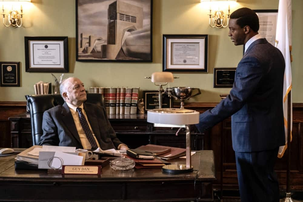 """CITY ON A HILL Season 2 Episode 7(L-R): John Doman as Guy Dan and Aldis Hodge as Decourcy Ward in CITY ON A HILL, """"Apophasis"""". Photo Credit: Francisco Roman/SHOWTIME."""