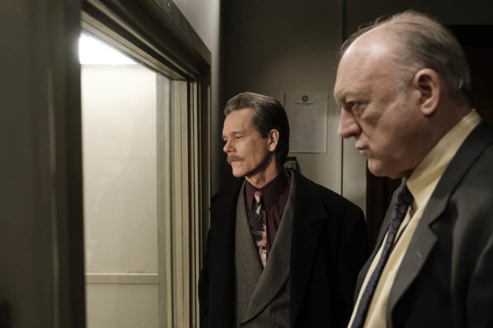 """CITY ON A HILL Season 2 Episode 7 (L-R): Kevin Bacon as Jackie Rohr and John Doman as Guy Dan in CITY ON A HILL, """"Apophasis"""". Photo Credit: Francisco Roman/SHOWTIME."""