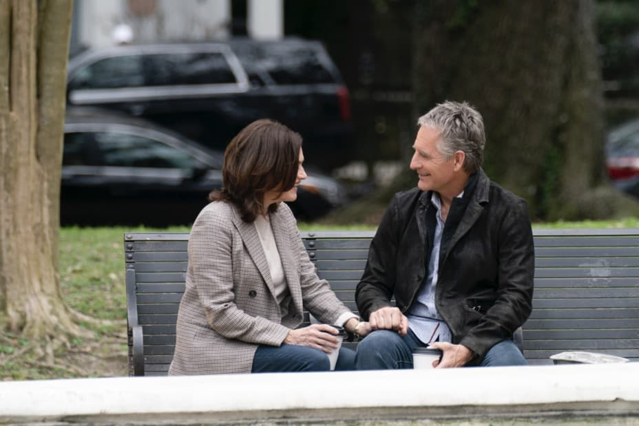"""NCIS NEW ORLEANS Season 7 Episode 14 """"Illusions"""" – As Pride directs the team to link Sasha to the recent attacks in New Orleans, he must help Connor come to terms with who his mother really is.  Also, Carter and Tammy must find a highly trained military dog who has been stolen and Pride and Rita make an important decision about their wedding, on """"NCIS: NEW ORLEANS,"""" Sunday, May 9 (10:00-11:00 PM, ET/PT) on the CBS Television Network. Pictured L-R: Chelsea Field as Rita Devereaux and Scott Bakula as Special Agent Dwayne Pride Photo: Sam Lothridge/CBS ©2021 CBS Broadcasting, Inc. All Rights Reserved."""