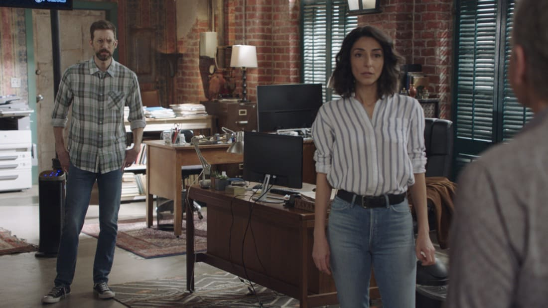 """NCIS NEW ORLEANS Season 7 Episode 14 """"Illusions"""" – As Pride directs the team to link Sasha to the recent attacks in New Orleans, he must help Connor come to terms with who his mother really is.  Also, Carter and Tammy must find a highly trained military dog who has been stolen and Pride and Rita make an important decision about their wedding, on """"NCIS: NEW ORLEANS,"""" Sunday, May 9 (10:00-11:00 PM, ET/PT) on the CBS Television Network. Pictured L-R: Rob Kerkovich as Forensic Agent Sebastian Lund, Necar Zadegan as Special Agent Hannah Khoury, and Scott Bakula as Special Agent Dwayne Pride Photo: Screen Grab/CBS ©2021 CBS Broadcasting, Inc. All Rights Reserved."""