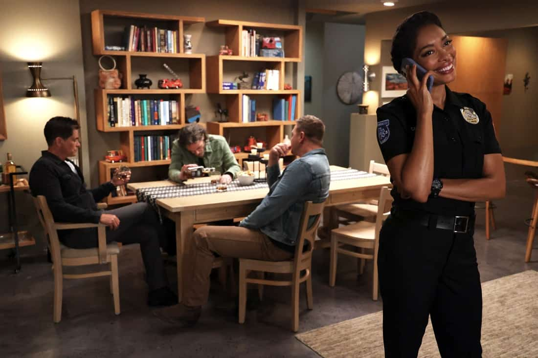 """9-1-1 LONE STAR Season 2 Episode 12: L-R: Rob Lowe, guest star Billy Burke, Jim Parrack and Gina Torres in the """"The Big Heat"""" episode of 9-1-1: LONE STAR airing Monday, May 10 (9:01-10:00 PM ET/PT) on FOX. © 2021 Fox Media LLC. CR: Jordin Althaus/FOX."""