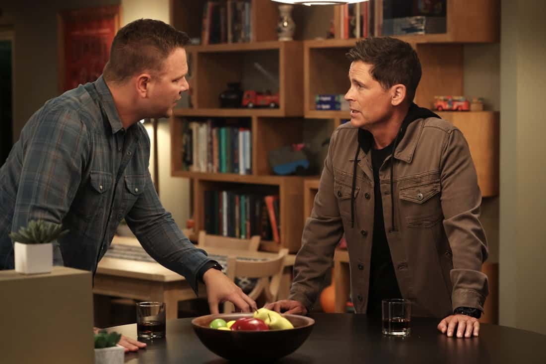 """9-1-1 LONE STAR Season 2 Episode 12 : L-R: Jim Parrack and Rob Lowe in the """"The Big Heat"""" episode of 9-1-1: LONE STAR airing Monday, May 10 (9:01-10:00 PM ET/PT) on FOX. © 2021 Fox Media LLC. CR: Jordin Althaus/FOX."""