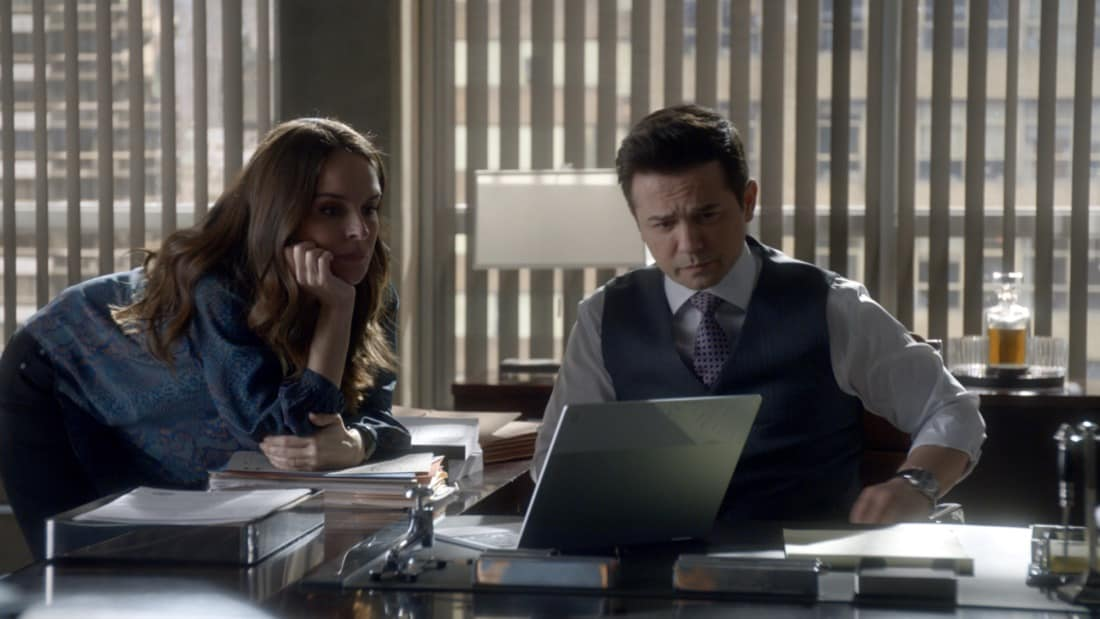 """BULL Season 5 Episode 15 """"Snatchback"""" – Bull aims to mount a federal trial defense without hard evidence when the federal government sues his client for fraud, a child recovery agent (Gino Anthony Pesi) whose covert work requires him to leave no proof behind of his operations. Also, Izzy wants Benny to consider hitting back at his opponent in the District Attorney race when the other candidate engages in mudslinging to sully Benny's public image before an important debate, on BULL, Monday, May 10 (10:00-11:00 PM, ET/PT) on the CBS Television Network.  Pictured L-R: Yara Martinez as Isabella """"Izzy"""" Colón and Freddy Rodriguez as Benny Colón Photo: Screen Grab/CBS ©2021 CBS Broadcasting, Inc. All Rights Reserved"""