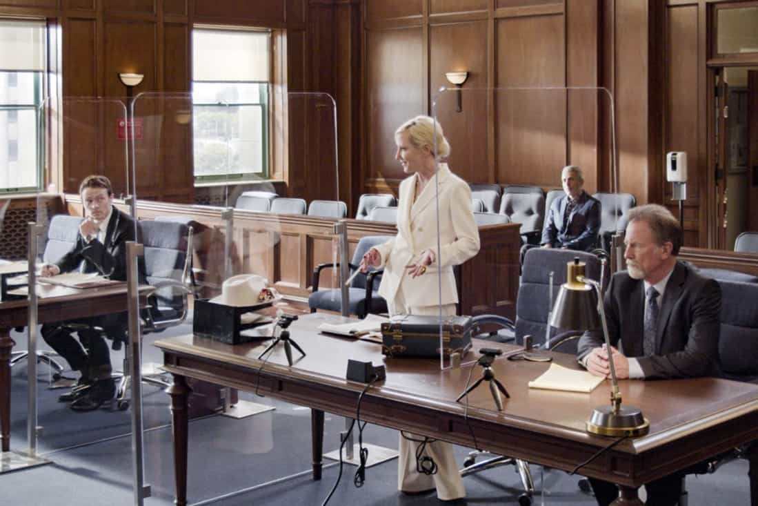 """ALL RISE Season 2 Episode 15 """"Hear My Voice"""" – Lola finds herself in the judicial hotseat when she presides over the case of former Sheriff Wayne McCarthy (Louis Herthum), and struggles because she and Mark can't talk to each other outside the courtroom. Also, Detective Rashel (Nick Wechsler) and other cops come forward to speak against McCarthy, but Corinne (Anne Heche) continues to turn their testimonies against them, and Luke demands that Mark allow him to take the stand, on ALL RISE, Monday, May 10 (9:00- 10:00 PM, ET/PT), on the CBS Television Network. Pictured (L-R): Wilson Bethel as Mark Callan, Anne Heche as Corrine Cuthbert, and Louis Herthum as Sheriff Wayne McCarthy Photo: Screen Grab/CBS ©2021 CBS Broadcasting, Inc. All Rights Reserved."""
