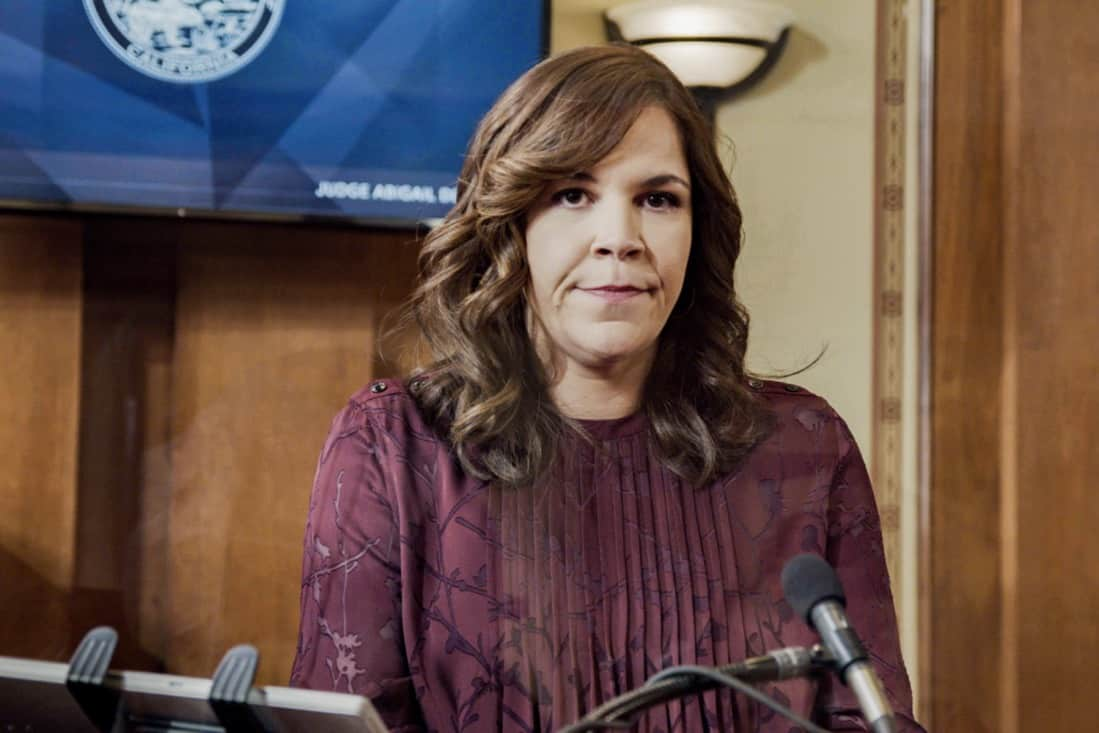 """ALL RISE Season 2 Episode 15 """"Hear My Voice"""" – Lola finds herself in the judicial hotseat when she presides over the case of former Sheriff Wayne McCarthy (Louis Herthum), and struggles because she and Mark can't talk to each other outside the courtroom. Also, Detective Rashel (Nick Wechsler) and other cops come forward to speak against McCarthy, but Corinne (Anne Heche) continues to turn their testimonies against them, and Luke demands that Mark allow him to take the stand, on ALL RISE, Monday, May 10 (9:00- 10:00 PM, ET/PT), on the CBS Television Network. Pictured: Lindsay Mendez as Sara Castillo Photo: Screen Grab/CBS ©2021 CBS Broadcasting, Inc. All Rights Reserved."""
