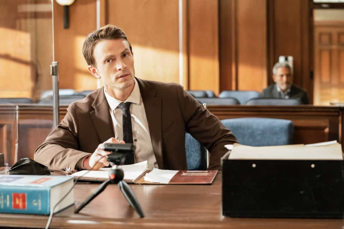 """ALL RISE Season 2 Episode 15 """"Hear My Voice"""" – Lola finds herself in the judicial hotseat when she presides over the case of former Sheriff Wayne McCarthy (Louis Herthum), and struggles because she and Mark can't talk to each other outside the courtroom. Also, Detective Rashel (Nick Wechsler) and other cops come forward to speak against McCarthy, but Corinne (Anne Heche) continues to turn their testimonies against them, and Luke demands that Mark allow him to take the stand, on ALL RISE, Monday, May 10 (9:00- 10:00 PM, ET/PT), on the CBS Television Network. Pictured: Wilson Bethel as Mark Callan Photo: Erik Voake/CBS ©2021 CBS Broadcasting, Inc. All Rights Reserved."""
