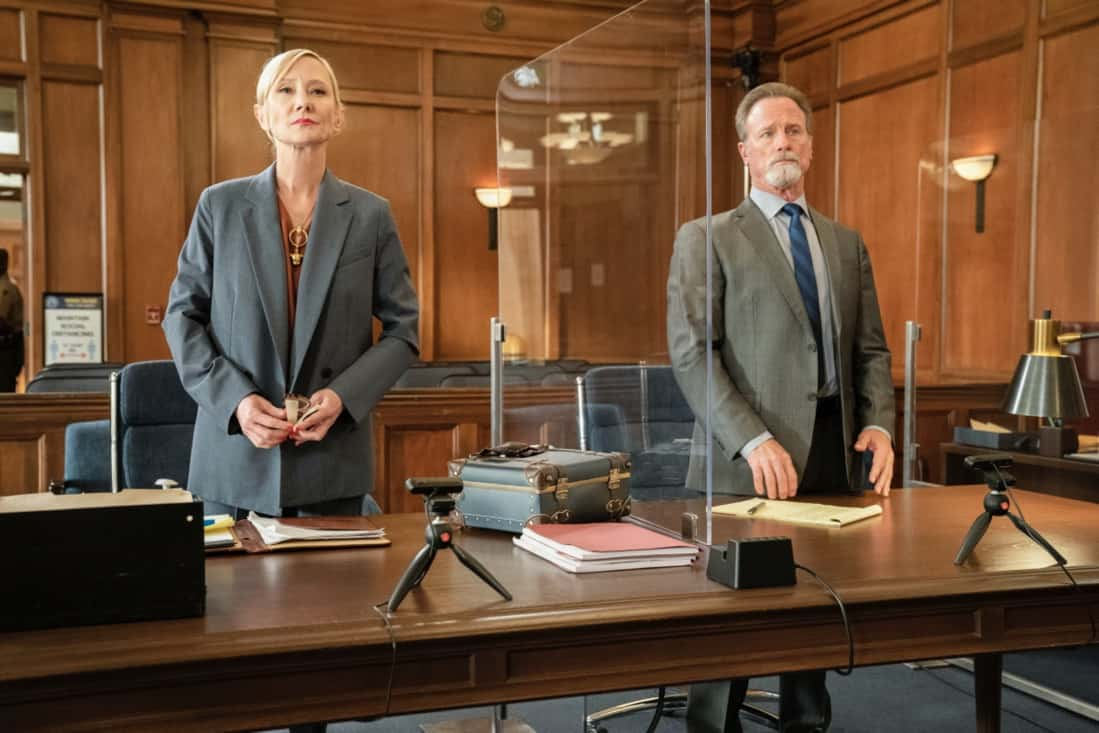 """ALL RISE Season 2 Episode 15 """"Hear My Voice"""" – Lola finds herself in the judicial hotseat when she presides over the case of former Sheriff Wayne McCarthy (Louis Herthum), and struggles because she and Mark can't talk to each other outside the courtroom. Also, Detective Rashel (Nick Wechsler) and other cops come forward to speak against McCarthy, but Corinne (Anne Heche) continues to turn their testimonies against them, and Luke demands that Mark allow him to take the stand, on ALL RISE, Monday, May 10 (9:00- 10:00 PM, ET/PT), on the CBS Television Network. Pictured (L-R): Anne Heche as Corrine Cuthbert and Louis Herthum as Sheriff Wayne McCarthy Photo: Erik Voake/CBS ©2021 CBS Broadcasting, Inc. All Rights Reserved."""