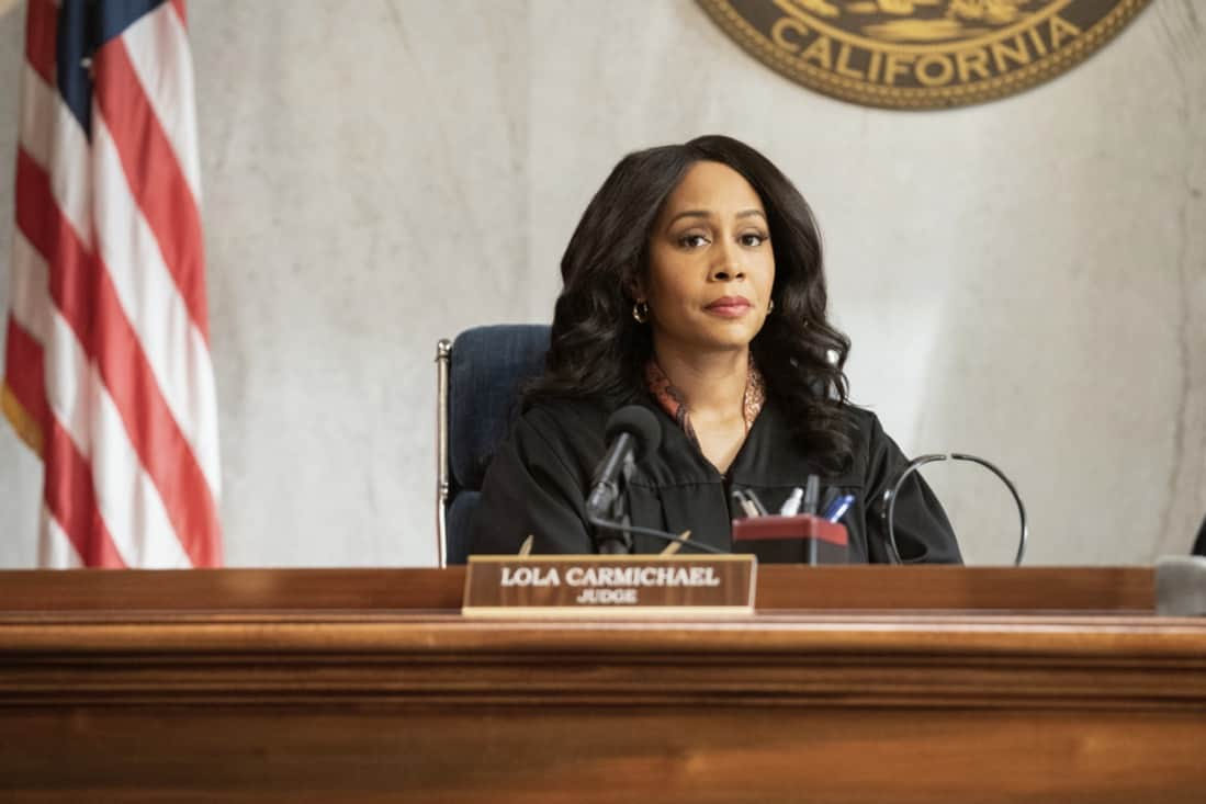 """ALL RISE Season 2 Episode 15 """"Hear My Voice"""" – Lola finds herself in the judicial hotseat when she presides over the case of former Sheriff Wayne McCarthy (Louis Herthum), and struggles because she and Mark can't talk to each other outside the courtroom. Also, Detective Rashel (Nick Wechsler) and other cops come forward to speak against McCarthy, but Corinne (Anne Heche) continues to turn their testimonies against them, and Luke demands that Mark allow him to take the stand, on ALL RISE, Monday, May 10 (9:00- 10:00 PM, ET/PT), on the CBS Television Network. Pictured: Simone Missick as Lola Carmichael Photo: Erik Voake/CBS ©2021 CBS Broadcasting, Inc. All Rights Reserved."""