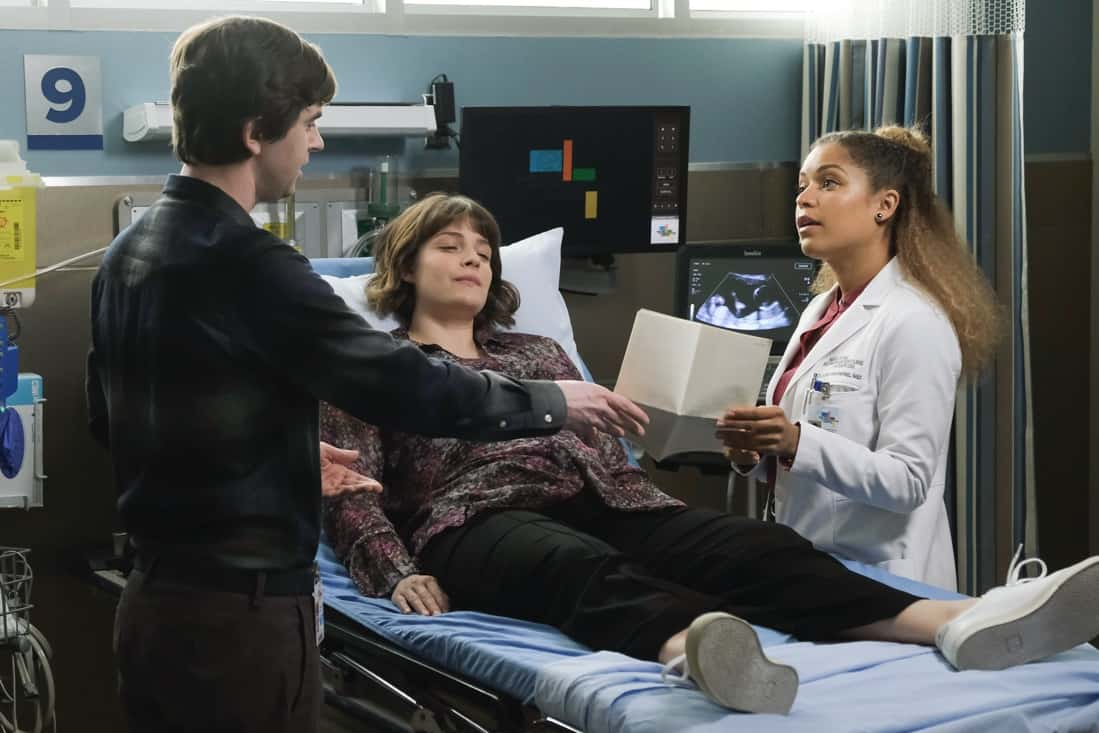 """THE GOOD DOCTOR Season 4 Episode 16 - """"Dr. Ted"""" – Shaun struggles with his role as Lea's partner after complications arise with the pregnancy and his instincts as a medical professional kick in. Meanwhile, Dr. Park, Dr. Andrews and Asher disagree on how to address an elderly patient's wishes on an all-new episode of """"The Good Doctor,"""" MONDAY, MAY 10 (10:00-11:00 p.m. EDT), on ABC. (ABC/Jeff Weddell) PAIGE SPARA, ANTONIA THOMAS"""