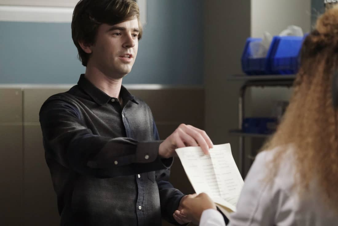 """THE GOOD DOCTOR Season 4 Episode 16 - """"Dr. Ted"""" – Shaun struggles with his role as Lea's partner after complications arise with the pregnancy and his instincts as a medical professional kick in. Meanwhile, Dr. Park, Dr. Andrews and Asher disagree on how to address an elderly patient's wishes on an all-new episode of """"The Good Doctor,"""" MONDAY, MAY 10 (10:00-11:00 p.m. EDT), on ABC. (ABC/Jeff Weddell) FREDDIE HIGHMORE"""