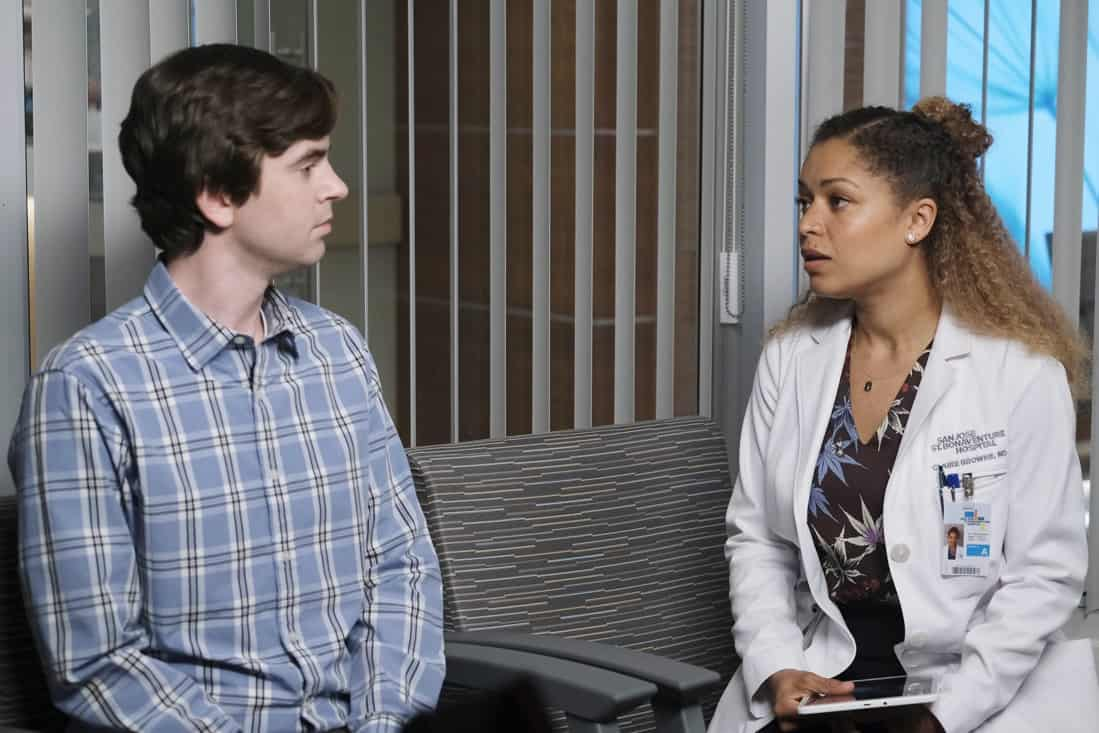 """THE GOOD DOCTOR Season 4 Episode 16 - """"Dr. Ted"""" – Shaun struggles with his role as Lea's partner after complications arise with the pregnancy and his instincts as a medical professional kick in. Meanwhile, Dr. Park, Dr. Andrews and Asher disagree on how to address an elderly patient's wishes on an all-new episode of """"The Good Doctor,"""" MONDAY, MAY 10 (10:00-11:00 p.m. EDT), on ABC. (ABC/Jeff Weddell) FREDDIE HIGHMORE, ANTONIA THOMAS"""