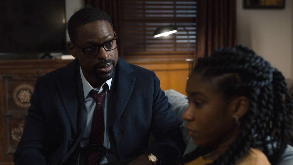 """THIS IS US Season 5 Episode 14 -- """"The Music and the Mirror"""" Episode 514 -- Pictured in this screengrab: (l-r) Sterling K. Brown as Randall, Lyric Ross as Deja -- (Photo by: NBC)"""