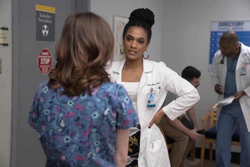 "NEW AMSTERDAM Season 3 Episode 11 -- ""Pressure Drop"" Episode 311 -- Pictured: Freema Agyeman as Dr. Helen Sharpe -- (Photo by: Virginia Sherwood/NBC)"