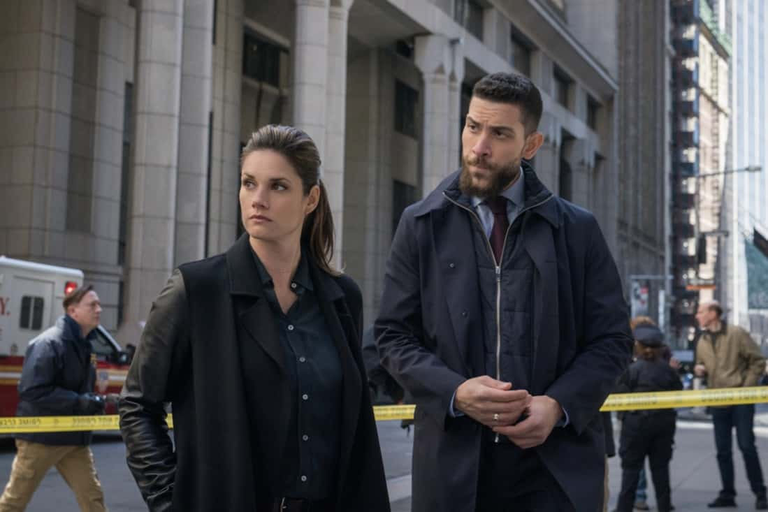 """FBI Season 3 Episode 13 """"Short Squeeze"""" - When the CEO of a major brokerage firm is shot and killed while surrounded by protesters, the team looks into who had the most to lose from his company's perceived manipulations. Also, Scola's previous Wall Street career and the reasons he left come to light as the financial details of the case begin to unfold, on FBI, Tuesday, May 11 (9:00-10:00 PM, ET/PT) on the CBS Television Network. Pictured (L-R)  Missy Peregrym as Special Agent Maggie Bell and  Zeeko Zaki as Special Agent Omar Adom 'OA' Zidan  Photo: Michael Parmelee/ ©2021 CBS Broadcasting, Inc. All Rights Reserved."""