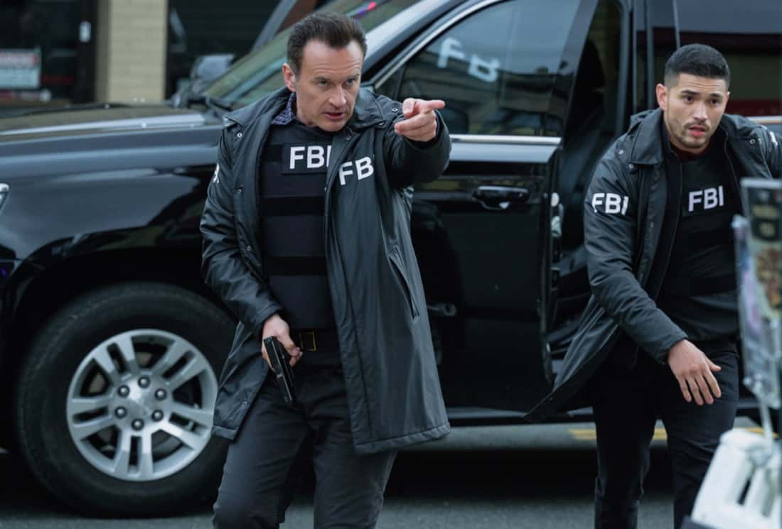 """FBI MOST WANTED Season 2 Episode 13 """"Toxic"""" - The team tracks two brothers set on getting revenge against members of the company guilty of the environmental destruction of their town. Also, Sarah meets the rest of the LaCroix family - including Jess' sister, Louise (Jules Willcox), on FBI: MOST WANTED, Tuesday, May 11 (10:00-11:00 PM, ET/PT) on the CBS Television Network.   Pictured (L-R) Julian McMahon as Supervisory Special Agent Jess LaCroix and  Miguel Gomez as Special Agent Ivan Ortiz Photo: Mark Schäfer/ ©2021 CBS Broadcasting Inc. All Rights Reserved."""