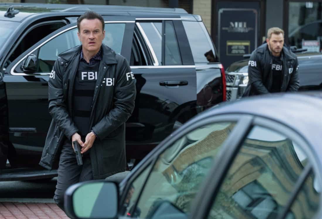 """FBI MOST WANTED Season 2 Episode 13 """"Toxic"""" - The team tracks two brothers set on getting revenge against members of the company guilty of the environmental destruction of their town. Also, Sarah meets the rest of the LaCroix family - including Jess' sister, Louise (Jules Willcox), on FBI: MOST WANTED, Tuesday, May 11 (10:00-11:00 PM, ET/PT) on the CBS Television Network.   Pictured (L-R) Julian McMahon as Supervisory Special Agent Jess LaCroix and Kellan Lutz as Special Agent Kenny Crosby Photo: Mark Schäfer/ ©2021 CBS Broadcasting Inc. All Rights Reserved."""