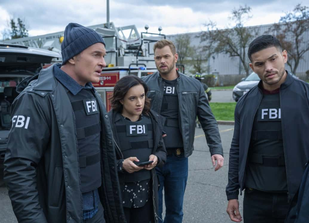 """FBI MOST WANTED Season 2 Episode 13 """"Toxic"""" - The team tracks two brothers set on getting revenge against members of the company guilty of the environmental destruction of their town. Also, Sarah meets the rest of the LaCroix family - including Jess' sister, Louise (Jules Willcox), on FBI: MOST WANTED, Tuesday, May 11 (10:00-11:00 PM, ET/PT) on the CBS Television Network.   Pictured (L-R) Julian McMahon as Supervisory Special Agent Jess LaCroix,  Keisha Castle-Hughes as Special Agent Hana Gibson,Kellan Lutz as Special Agent Kenny Crosby and  Miguel Gomez as Special Agent Ivan Ortiz Photo: Mark Schäfer/ ©2021 CBS Broadcasting Inc. All Rights Reserved."""
