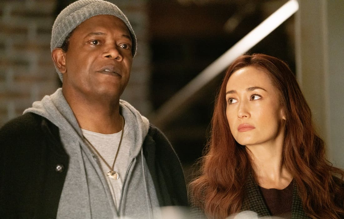 Samuel L. Jackson as Moody and Maggie Q as Anna in The Protégé. Photo Credit: Jichici Raul