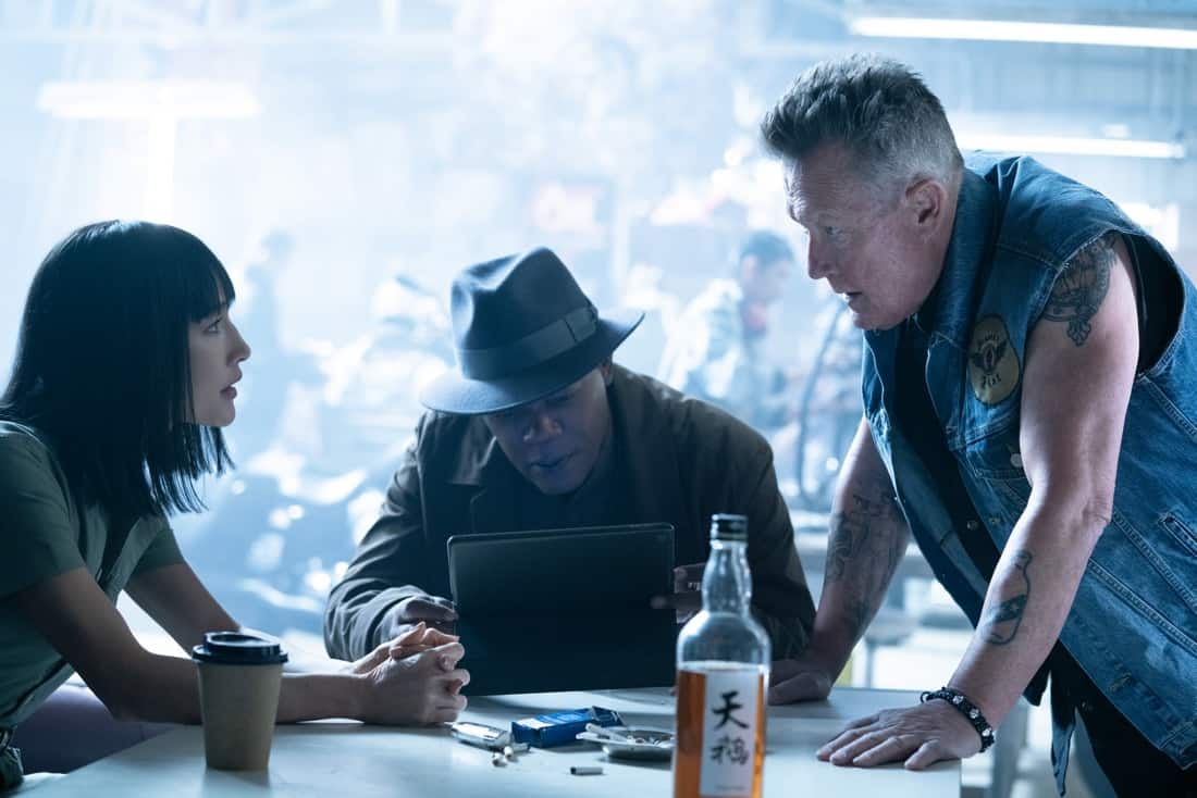 Maggie Q as Anna, Samuel L. Jackson as Moody, and Robert Patrick as Billy Boy in The Protégé. Photo Credit: Jichici Raul