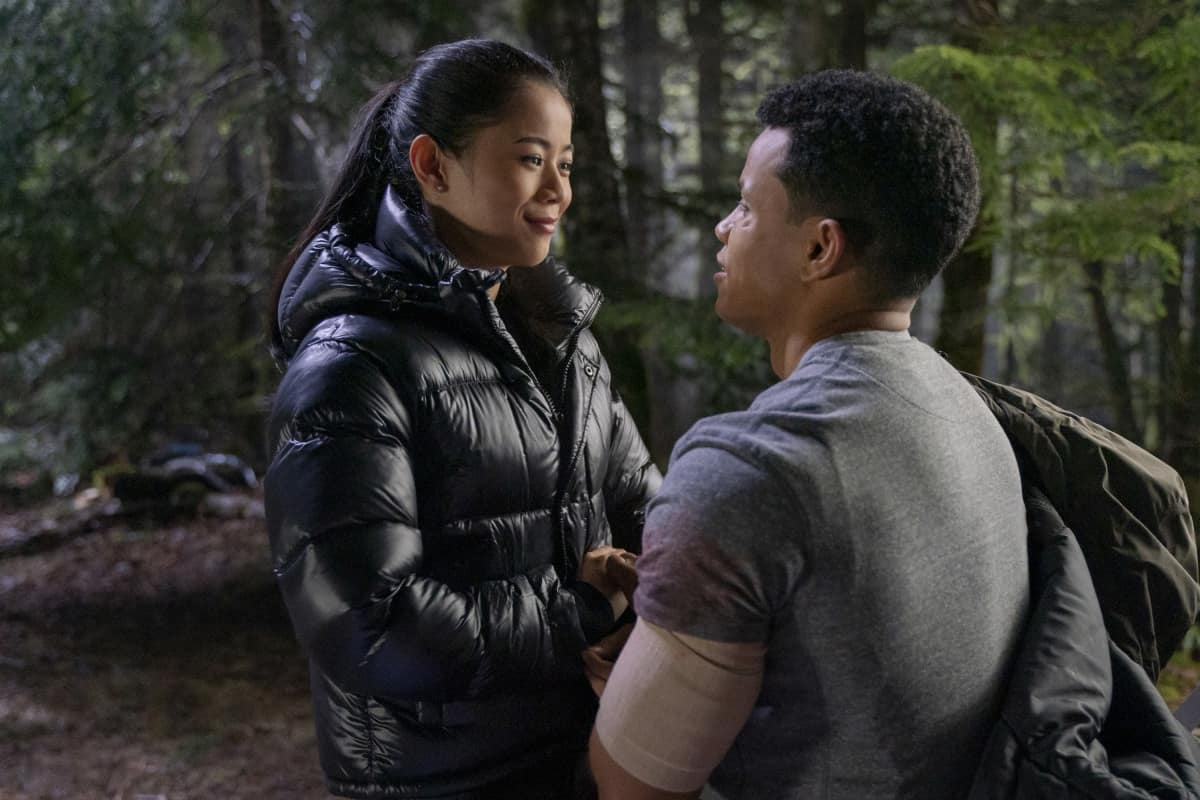 """NANCY DREW Season 2 Episode 15 -- """"The Celestial Visitor"""" -- Image Number: NCD216d_0260r.jpg -- Pictured (L-R): Leah Lewis as George and Tunji Kasim as Nick -- Photo: Colin Bentley/The CW -- © 2021 The CW Network, LLC. All Rights Reserved."""