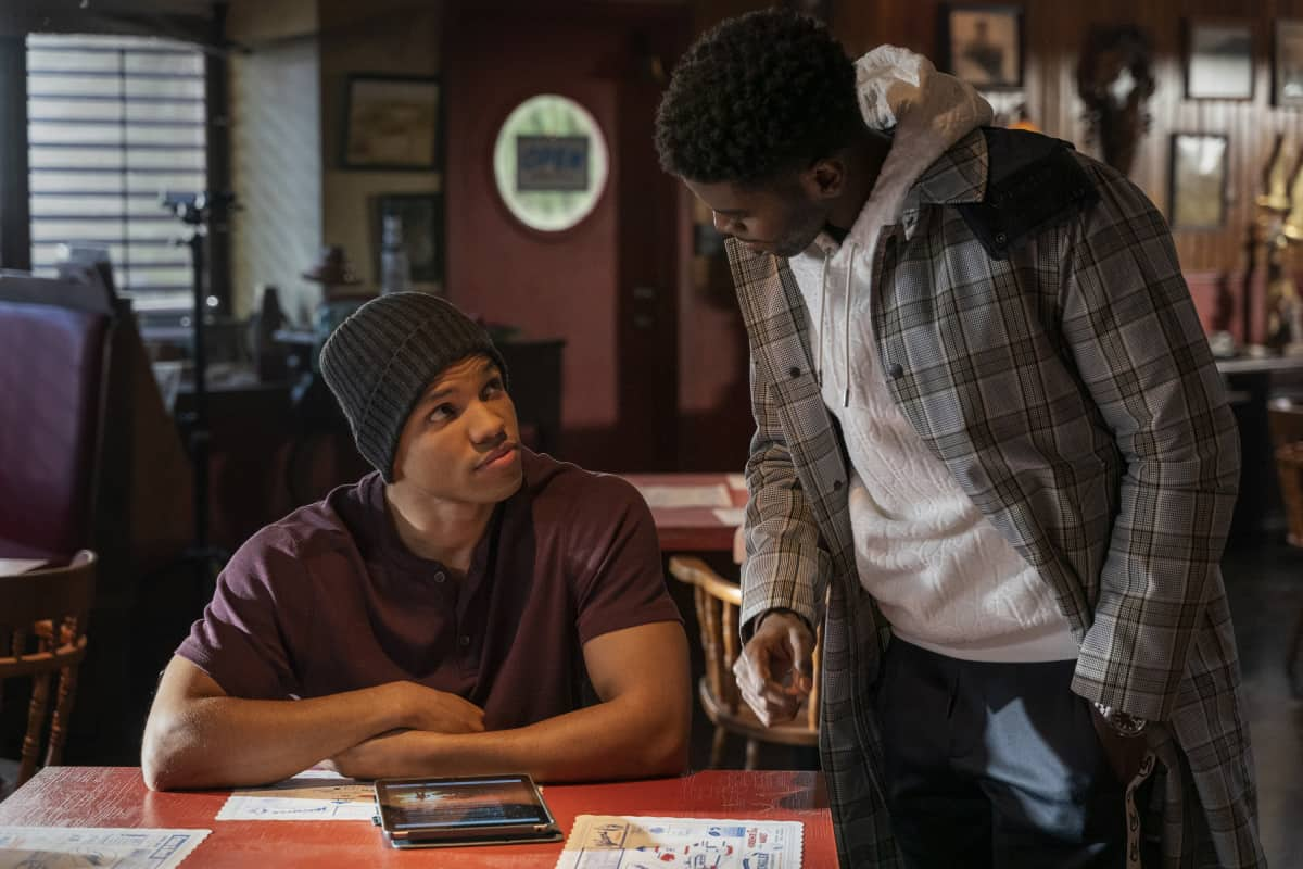 """NANCY DREW Season 2 Episode 15 -- """"The Celestial Visitor"""" -- Image Number: NCD215b_0052r.jpg -- Pictured (L-R): Tunji Kasim as Nick and Tian Richards as Tom Swift  -- Photo: Colin Bentley/The CW -- © 2021 The CW Network, LLC. All Rights Reserved."""