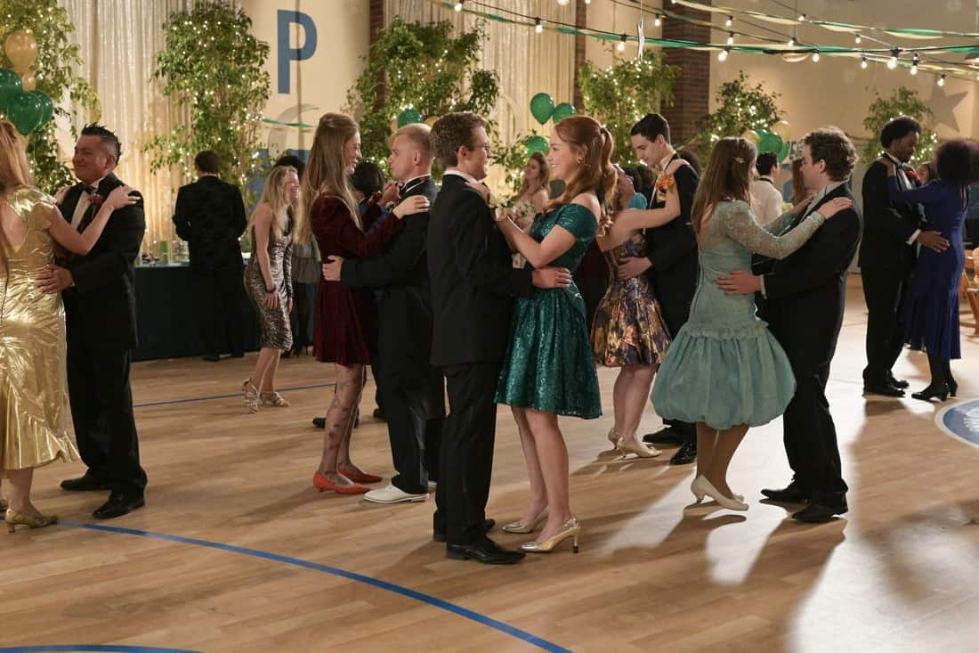 """THE GOLDBERGS Season 8 Episode 21 - """"Alligator Schwartz"""" – Erica fears that Geoff has moved on from their breakup and started dating someone else. Meanwhile, Adam decides to find Dave Kim a date to prom, once he remembers his pact with Dave that they won't go to prom if they both don't have dates, on a new episode of """"The Goldbergs,"""" WEDNESDAY, MAY 12 (8:00-8:30 p.m. EDT), on ABC. (ABC/Temma Hankin) SEAN GIAMBRONE, SADIE STANLEY"""