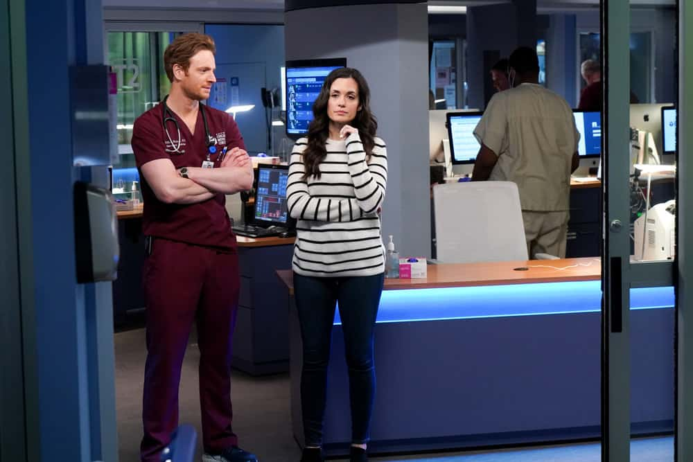 """CHICAGO MED Season 6 Episode 14 -- """"A Red Pill, A Blue Pill"""" Episode 614 -- Pictured: (l-r) Nick Gehlfuss as Dr. Will Halstead, Torrey DeVitto as Natalie Manning -- (Photo by: Elizabeth Sisson/NBC)"""