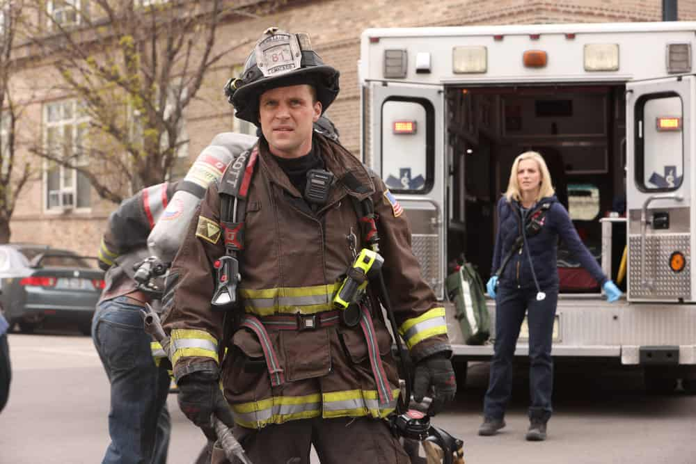 "CHICAGO FIRE Season 9 Episode 14 -- ""What Comes Next"" Episode 914 -- Pictured: (l-r) Jesse Spencer as Matthew Casey, Kara Killmer as Sylvie Brett -- (Photo by: Adrian S. Burrows Sr./NBC)"