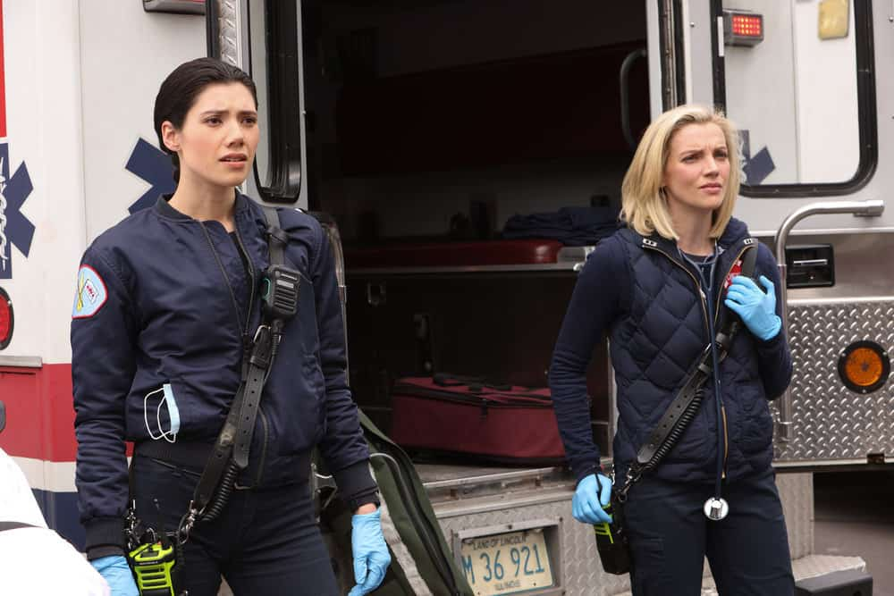 "CHICAGO FIRE Season 9 Episode 14 -- ""What Comes Next"" Episode 914 -- Pictured: (l-r) Hanako Greensmith as Violet, Kara Killmer as Sylvie Brett -- (Photo by: Adrian S. Burrows Sr./NBC)"